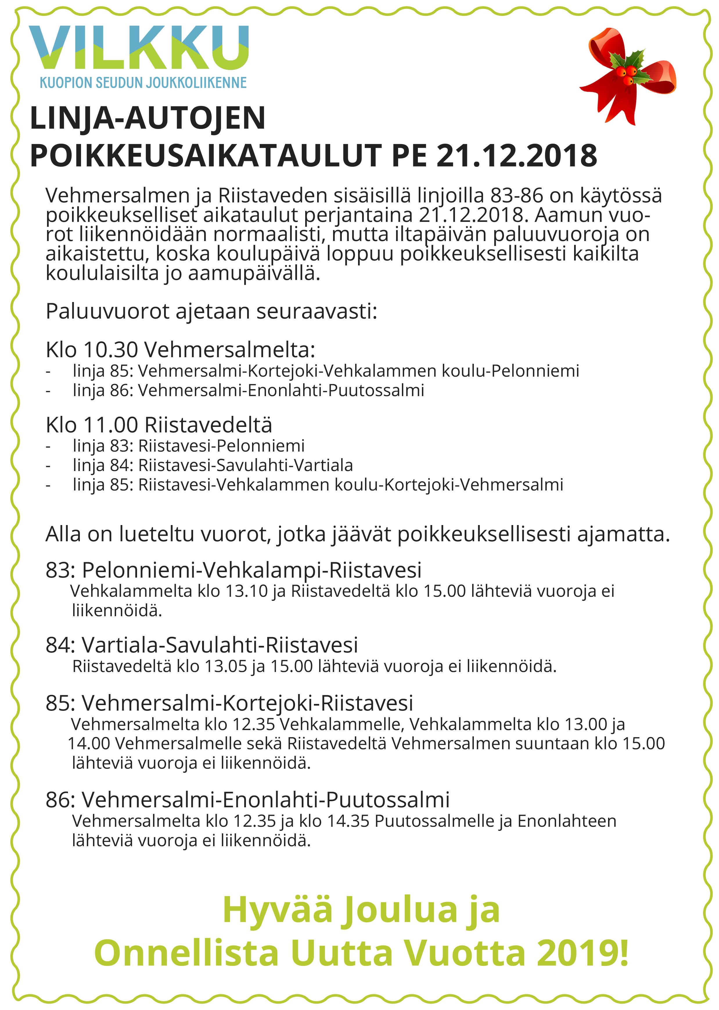 Joulun 2018 Vehmerin + Riistaveden Koululiikenne